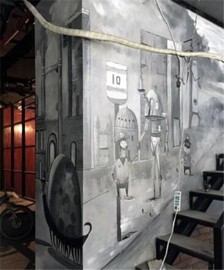 网咖复古工业风墙绘效果图