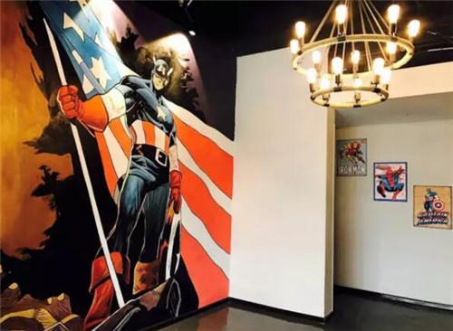 超大幅主题手绘墙,带你一秒穿越到漫威世界.